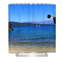 Lefkada Shower Curtain by Constantinos Charalampopoulos