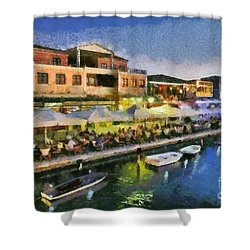 Lefkada Town During Dusk Time Shower Curtain