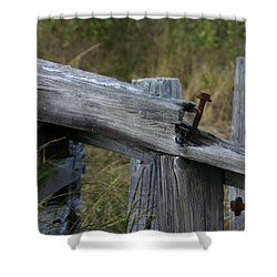 Left Behind At The Marsh Shower Curtain by Denyse Duhaime