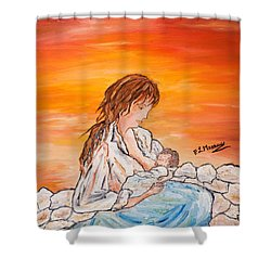 Shower Curtain featuring the painting Legame Continuo by Loredana Messina