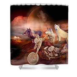 Legend Of Wolf Mountain Shower Curtain by Carol Cavalaris