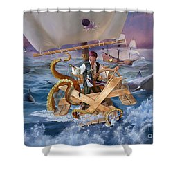 Shower Curtain featuring the painting Legendary Pirate by Rob Corsetti