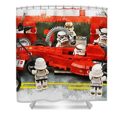 Lego Pit Stop Shower Curtain