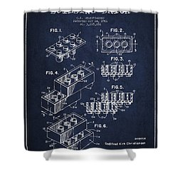 Lego Toy Building Brick Patent - Navy Blue Shower Curtain by Aged Pixel