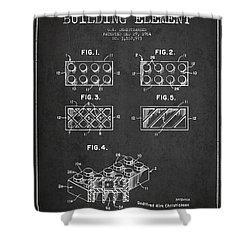 Lego Toy Building Element Patent - Dark Shower Curtain by Aged Pixel