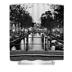 Shower Curtain featuring the photograph Leidsegracht Canal At Night / Amsterdam by Barry O Carroll