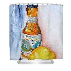 Lemon And Pilsner Shower Curtain by Beverley Harper Tinsley