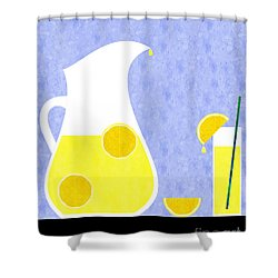 Lemonade And Glass Blue Shower Curtain by Andee Design