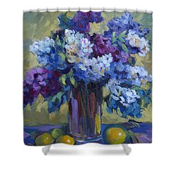 Lemons And Lilacs Shower Curtain by Diane McClary