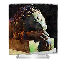 Leo Weeps Shower Curtain by RC DeWinter