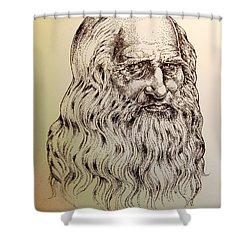 Leonardo Da Vinci Shower Curtain by Derrick Higgins