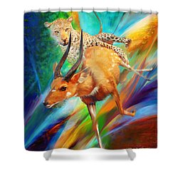 Shower Curtain featuring the painting Leopard Attack by Rob Corsetti