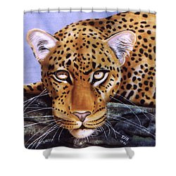 Shower Curtain featuring the painting Leopard In A Tree by Thomas J Herring