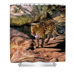 Leopard Shower Curtain by Michael Pickett