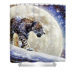 Shower Curtain featuring the painting Leopard Moon by Greg Collins