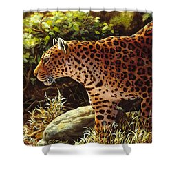 Leopard Painting - On The Prowl Shower Curtain by Crista Forest