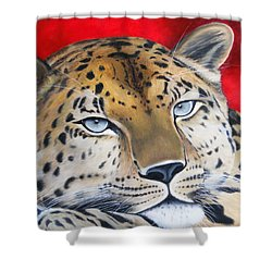 Leopardo Shower Curtain by Angel Ortiz