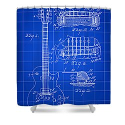 Les Paul Guitar Patent 1953 - Blue Shower Curtain