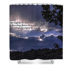 Let There Be Light Shower Curtain by Janice Rae Pariza