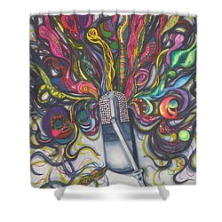 Shower Curtain featuring the painting Let Your Music Flow In Harmony by Chrisann Ellis