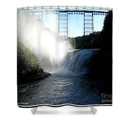 Letchworth State Park Upper Falls And Railroad Trestle Shower Curtain by Rose Santuci-Sofranko