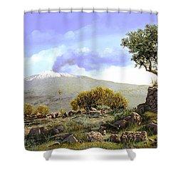 l'Etna  Shower Curtain by Guido Borelli