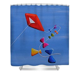Let's Go Fly A Kite Shower Curtain by Cindy Thornton