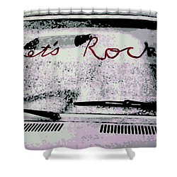Shower Curtain featuring the painting Lets Rock by Luis Ludzska