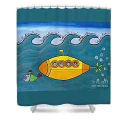 Lets Sing The Chorus Now - The Beatles Yellow Submarine Shower Curtain