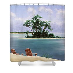 Let's Swim Out To The Island Shower Curtain