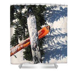 Lets Toast Our Skis Together Shower Curtain by Kym Backland