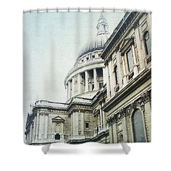Letters From London Shower Curtain by Lisa Parrish