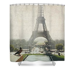 Letters From Trocadero - Paris Shower Curtain by Lisa Parrish