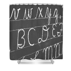 Letters On A Chalkboard Shower Curtain by Chevy Fleet
