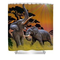 Leviathans Of The Land Shower Curtain