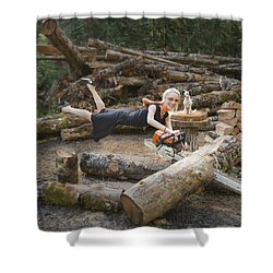 Levitating Housewife - Cutting Firewood Shower Curtain by Lori Grimmett
