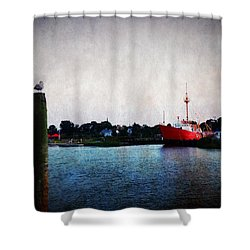 Lewes - Overfalls Lightship 2 Shower Curtain by Richard Reeve