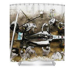 Lewis Hamilton Of Britain Service The Car At Pit Stop Shower Curtain