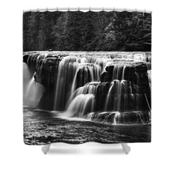 Lewis River Lower Falls Black And White Shower Curtain