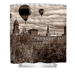 Lewiston Maine Hot Air Balloons Shower Curtain by Bob Orsillo