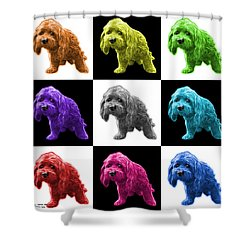 Lhasa Apso Pop Art - 5331 - V2- M Shower Curtain by James Ahn