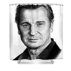 Liam Neeson Shower Curtain by Andrew Read
