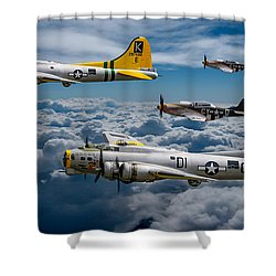 Liberty Belle And Fuddy Duddy With Mustangs Shower Curtain