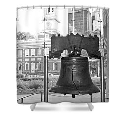 Liberty Bell And Independence Hall Bw Shower Curtain