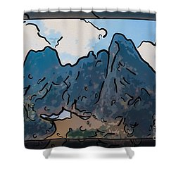 Shower Curtain featuring the painting Liberty Bell Mountain Abstract Landscape Painting by Omaste Witkowski