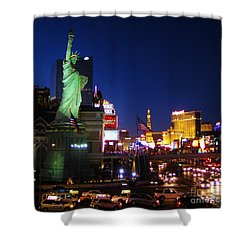 Liberty In Vegas Shower Curtain by John Malone