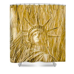 Shower Curtain featuring the photograph Liberty Is Golden by Dyle   Warren