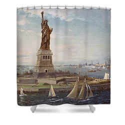 Liberty Island New York Harbor Shower Curtain by Fred Pansing