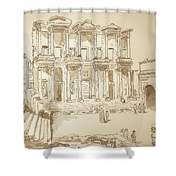 Library At Ephesus II Shower Curtain