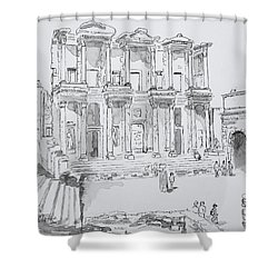 Library At Ephesus Shower Curtain